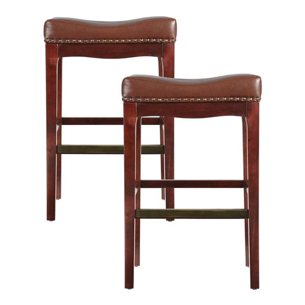 "Bombay Griffin 30"" Saddle Bar Stool Brown - Pair"