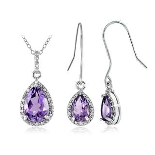 Glitzy Rocks Sterling Silver 5 1/4ct Amethyst and Diamond Accent Teardrop Pendant Earrings Set
