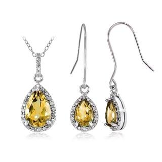 Glitzy Rocks Sterling Silver 5 1/4ct Citrine and Diamond Accent Teardrop Pendant Earrings Set