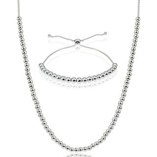 Mondevio Sterling Silver Bead Pull-string Slider Adjustable Bracelet and/or Necklace