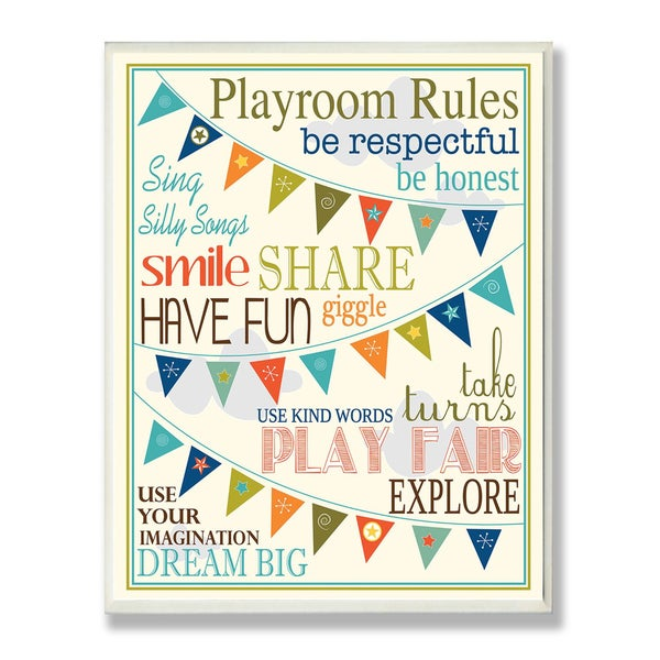 The Kids Room by Stupell Playroom Rules with Pennants in Blue Rectangle Wall Plaque