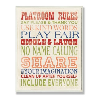 The Kids Room by Stupell Playroom Rules in Four Colors Rectangle Wall Plaque
