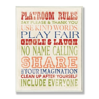 The Kids Room by Stupell Playroom Rules in Four Colors Wood Wall Art,10 x 15, Proudly Made in USA - 10 x 15