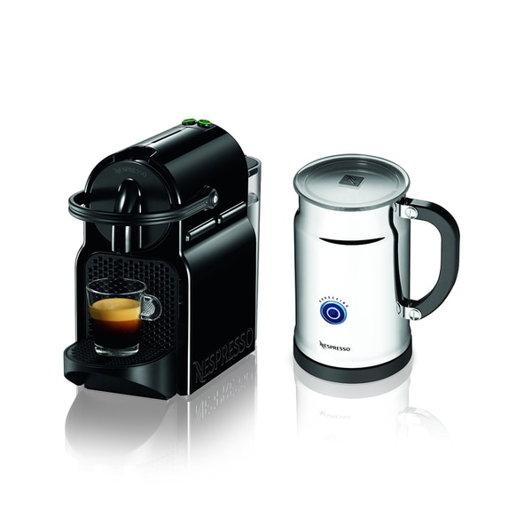 Nespresso Black Inissia Espresso Maker with Aeroccino Plus Milk Frother