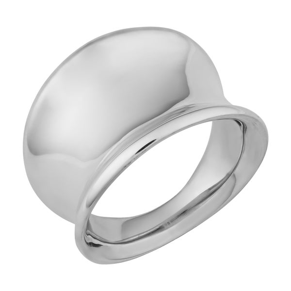 Argento Italia Sterling Silver High Polish Concave Wide Band Ring (size 6)