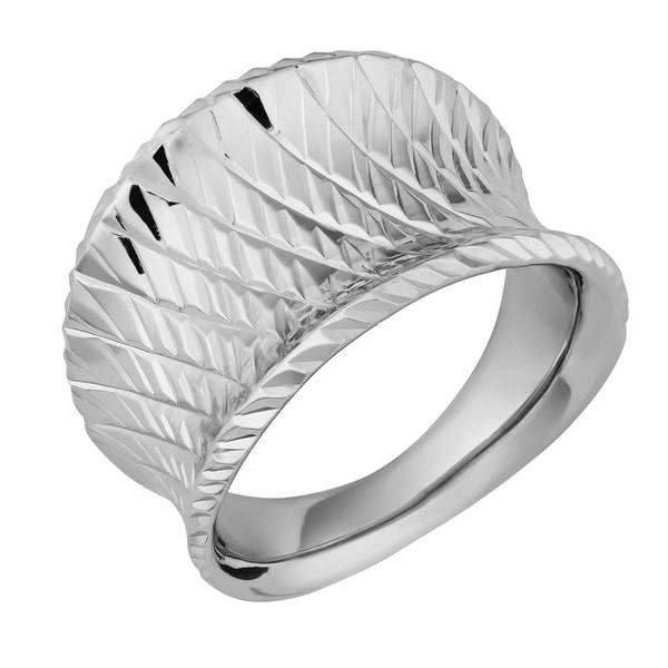 Argento Italia Sterling Silver Diamond-cut Concave Ring (size 8)