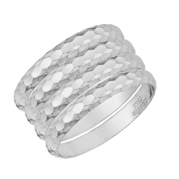 Argento Italia Sterling Silver Diamond-cut Set of Four Band Ring (size 7)