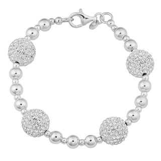 Argento Italia Sterling Silver Ball with Crystal Station Bracelet (7.5 inches)