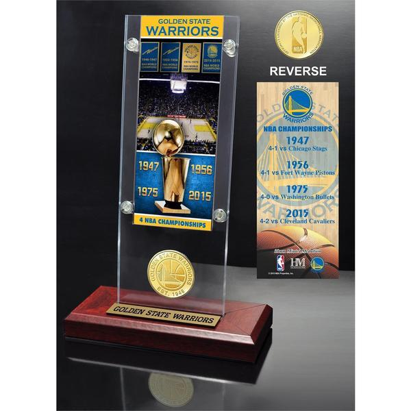 Golden State Warriors 4-Time NBA Champions Ticket & Bronze Coin Acrylic Desk Top