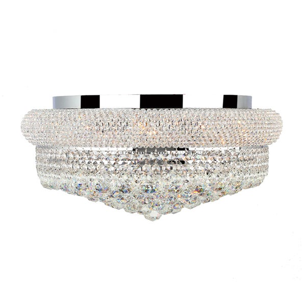 "French Empire 10 light Chrome Finish and Clear Crystal Ceiling Flush Mount Large 20"" Wide"