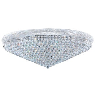 """French Empire 33 Light Chrome Finish and Clear Crystal Ceiling Flush Mount 48"""" Wide Extra Large"""