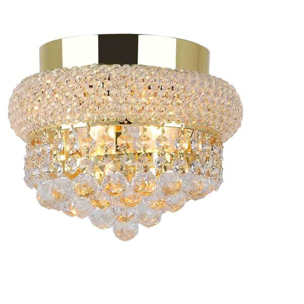 "French Empire 3 light Gold Finish and Clear Crystal Ceiling Flush Mount 8"" Wide Small"