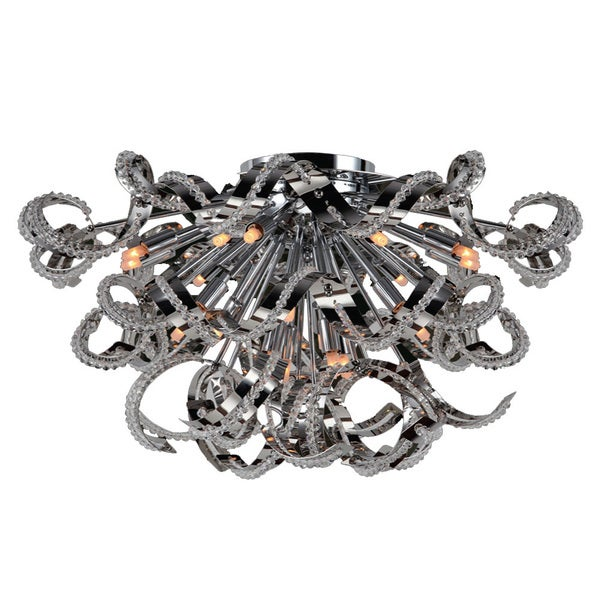 "Modern Medusa 19 Light Chrome Finish and Clear Crystal Ceiling Flush Mount 26"" Wide Extra Large"