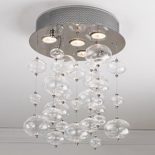 "Contemporary 4 Light Chrome Finish and Clear Blown Glass Bubble Ceiling Flush Mount 12"" Wide Small"