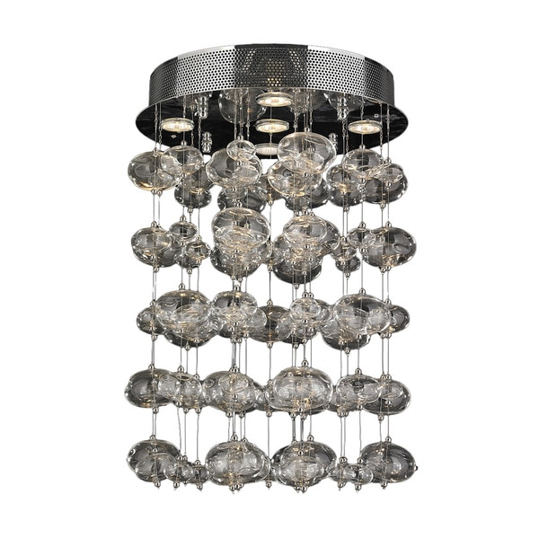 "Contemporary 5 light Chrome Finish and Clear Blown Glass Bubble Ceiling Flush Mount 16"" Wide Medium"