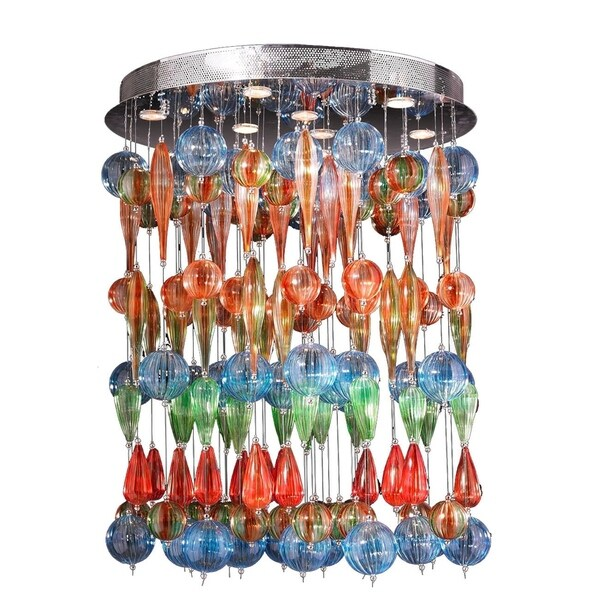 Multi Color Blown Glass Fiesta Collection Nine Light Multi Colored Blown Fiesta Glass Ceiling Flush