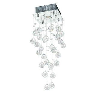 "Modern 1 light Crystal Ball Prism Rainfall Ceiling Flush Mount 8"" Square x 24"" High"