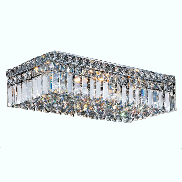 "Contemporary 20"" Rectangle Shape 4 Light Chrome Canopy and Cluster of Crystal Balls Ceiling Flush Mount Large"