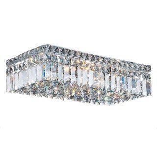 """Contemporary 20"""" Rectangle Shape 4 Light Chrome Canopy and Cluster of Crystal Balls Ceiling Flush Mount Large"""