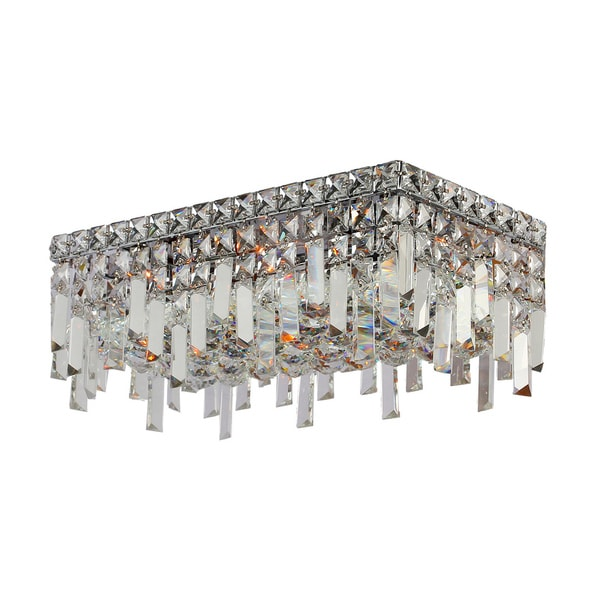 "Contemporary 16"" Rectangle Shape 4 Light Chrome Canopy and Cluster of Crystal Balls Ceiling Flush Mount Medium"