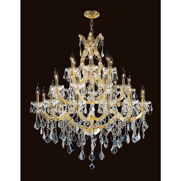 28 Light Gold Finish Victorian Grand Crystal Chandelier Three 3 Tier