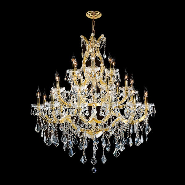 Maria Theresa Grand Eight Light Gold Finish Victorian Grand Crystal Three Tier Large Chandelier