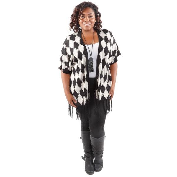 Hadari Women's Plus Size Black Diamond Pattern Cardigan
