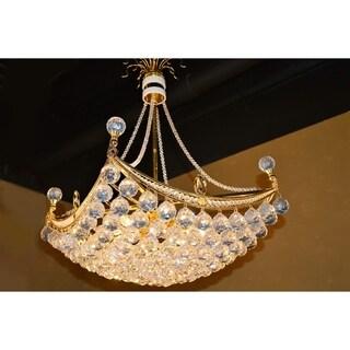 French Empire 6 light Gold Finish Umbrella Crystal Chandelier Medium