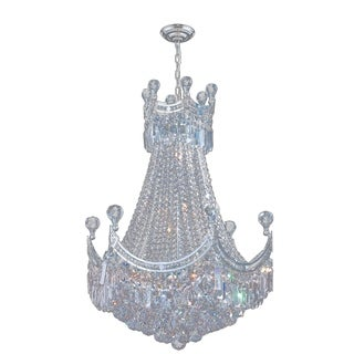 French Empire 9 Light Chrome Finish Crystal Regal Chandelier Medium