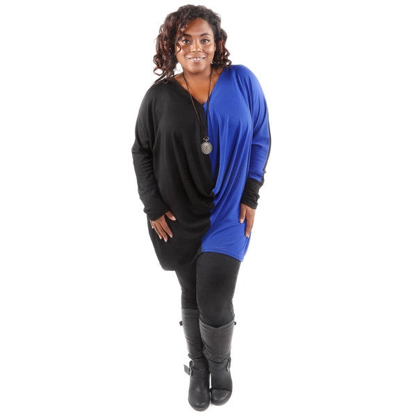 Hadari Women's Plus Size Blue Block Knit Top