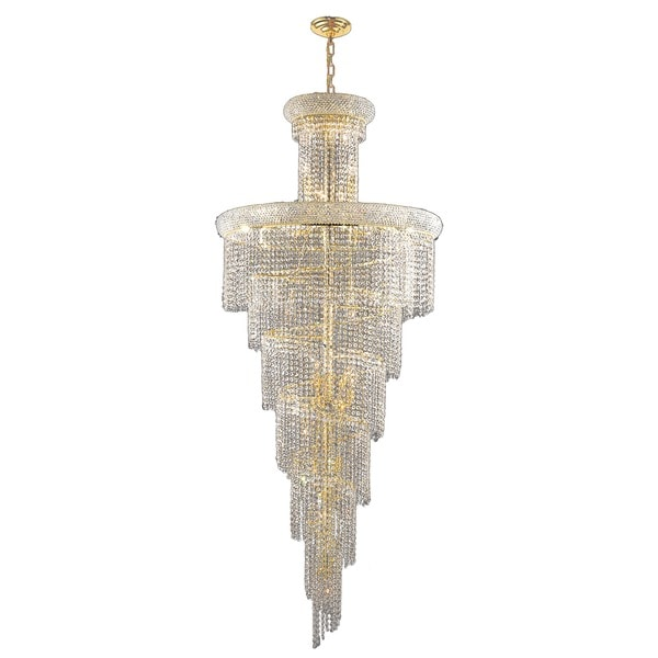 French Empire 28 Light Gold Finish Spiral Crystal String Contemporary Chandelier Large