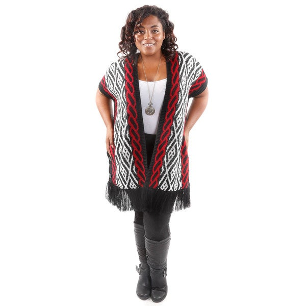 Hadari Women's Plus Size Vertical Pattern Cardigan Sweater