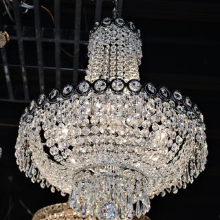 French Empire 8 Light Chrome Finish Crystal Chandelier Mini