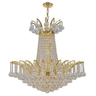 French Empire 8 light Gold Finish Crystal Regal Chandelier Medium