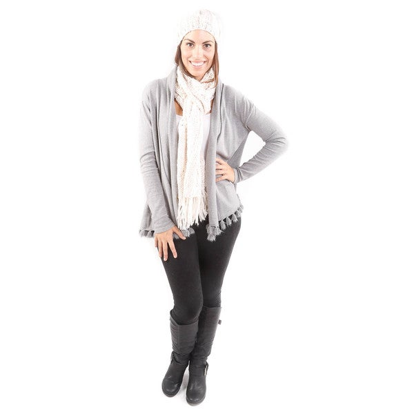 Hadari Women's Winter Beige Beanie and Scarf Set