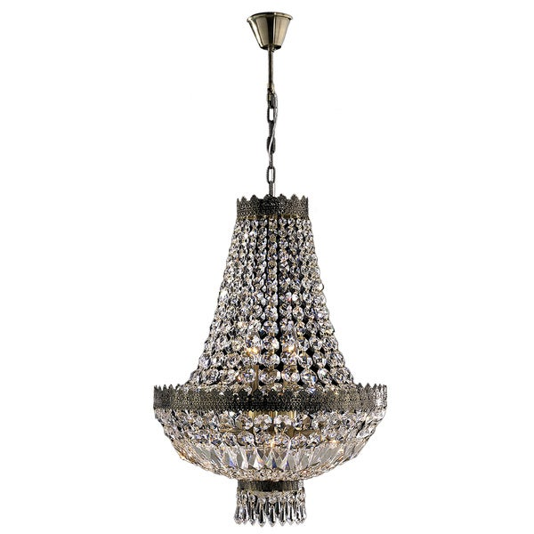French Empire 6 Light Antique Bronze Finish And Clear Crystal Basket