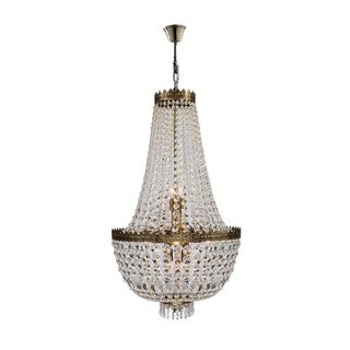 Empire 8 Light Antique Bronze Finish and Clear Crystal Basket Chandelier Medium
