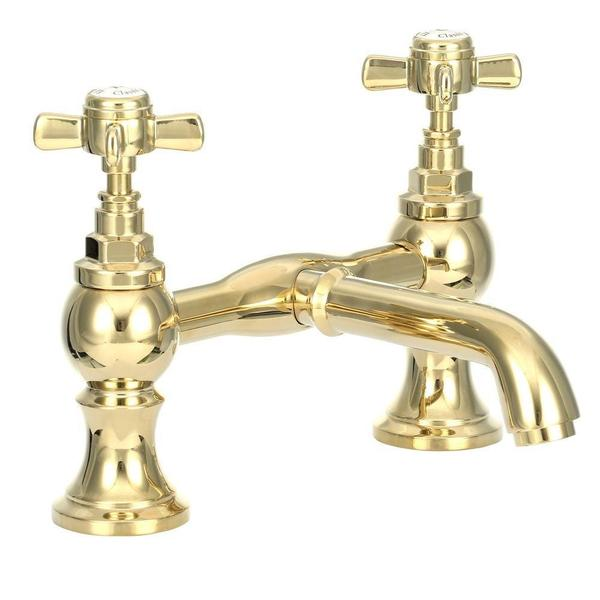 2-Handle Claw Foot Tub Faucet without Hand Shower in Polished Brass