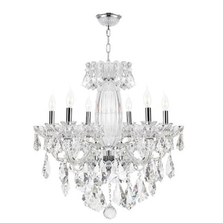 Old World Elegance 6 light Chrome Finish with Double-Cut Crystal Chandelier Large