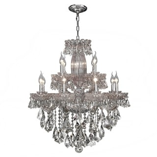 Old World Elegance 12 light Chrome Finish with Double-Cut Crystal Chandelier Two 2 Tier Large