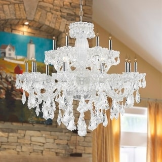 Old World Elegance 18 light Chrome Finish with Double-cut Clear Crystal Chandelier Two 2 Tier Large