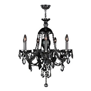 "Venetian Italian Style 7 Light Chrome Finish and Black Crystal Chandelier Large 26"""" x 28"""""