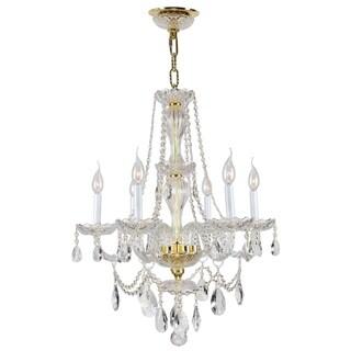 "Venetian Italian Style 6 Light Gold Finish and Clear Crystal Chandelier Medium 23"" x 31"""