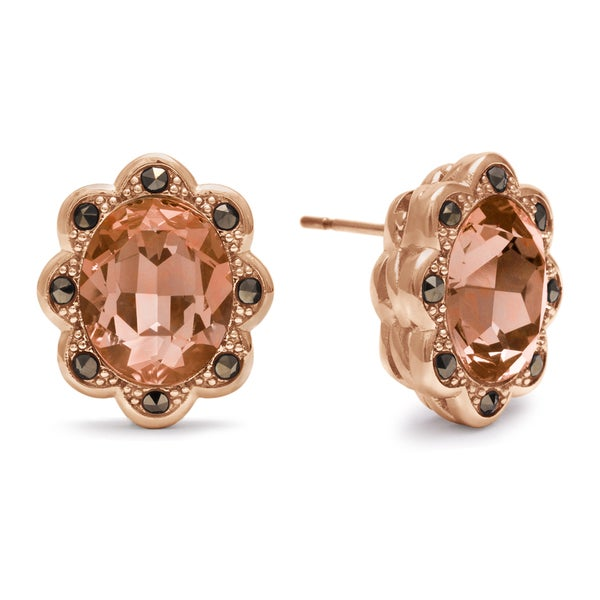 4ct Oval Shape Crystal Morganite and Marcasite Earrings, Rose Gold Overlay