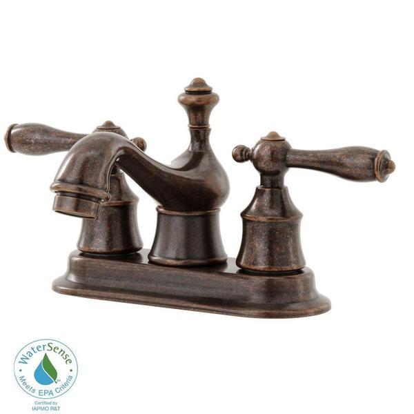 Estates 4-inch Centerset 2-Handle Low Arc Bathroom Faucet in Heritage Bronze