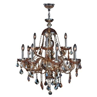 "Venetian Italian Style 12 Light Chrome Finish and Amber Crystal Chandelier Large 28"" x 31"""