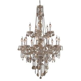 "Venetian Italian Style 15 Light Chrome Finish and Golden Teak Crystal Chandelier Two 2 Tier Large 33"""" x 52"""""