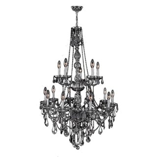 """Venetian Italian Style 15 Light Chrome Finish and Smoke Crystal Chandelier Two 2 Tier Large 33"""" x 52"""""""