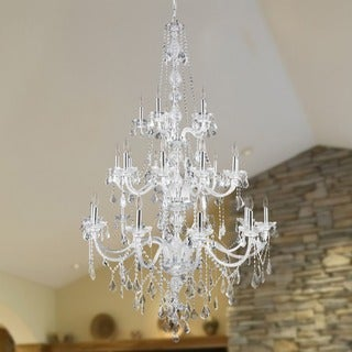 """Venetian Italian Style 25 Light Chrome Finish and Clear Crystal Chandelier Three 3 Tier Extra Large 43"""" x 68"""""""