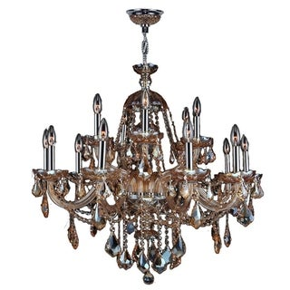 """Venetian Italian Style 15 Light Chrome Finish and Amber Crystal Chandelier Two 2 Tier Large 35"""" x 31"""""""